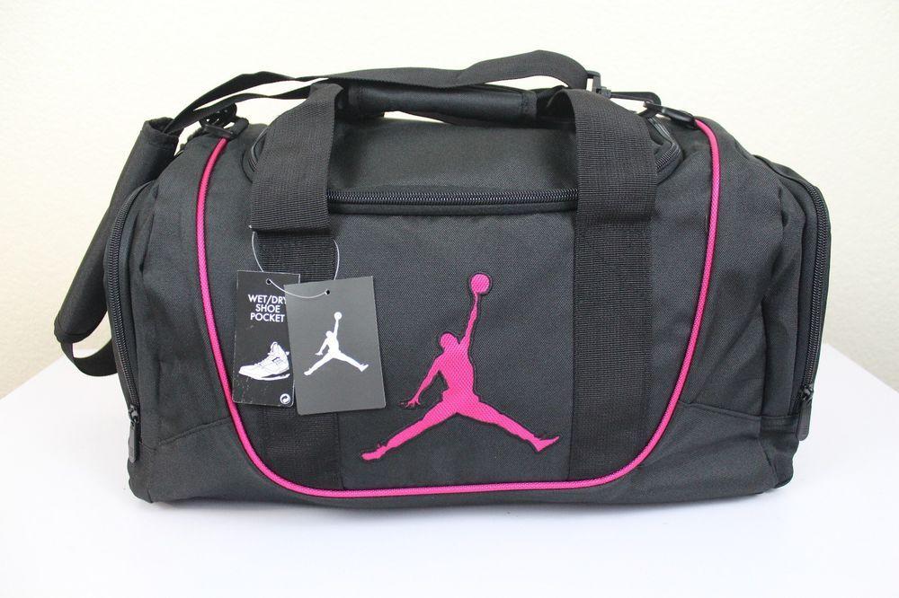 Nike Jordan Girls Sport Gym Small Duffle Bag Black Pink 20 X 10