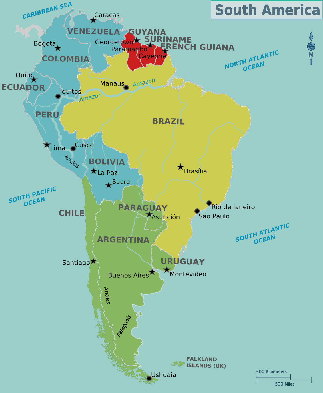 Spanish Map Of South America With Capitals - America Map ...