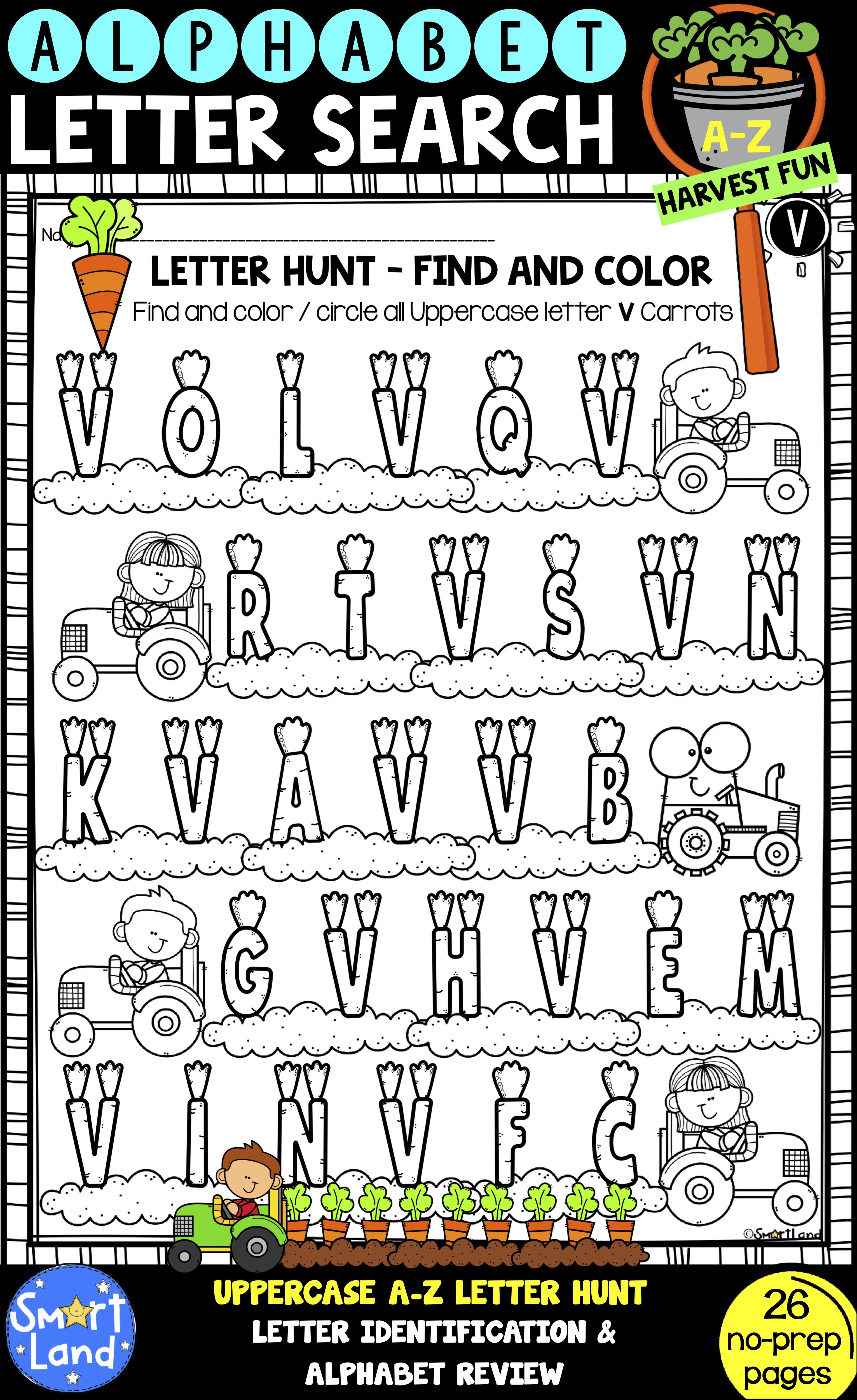 Alphabet Practice Worksheets Letter Search Harvest Fun In
