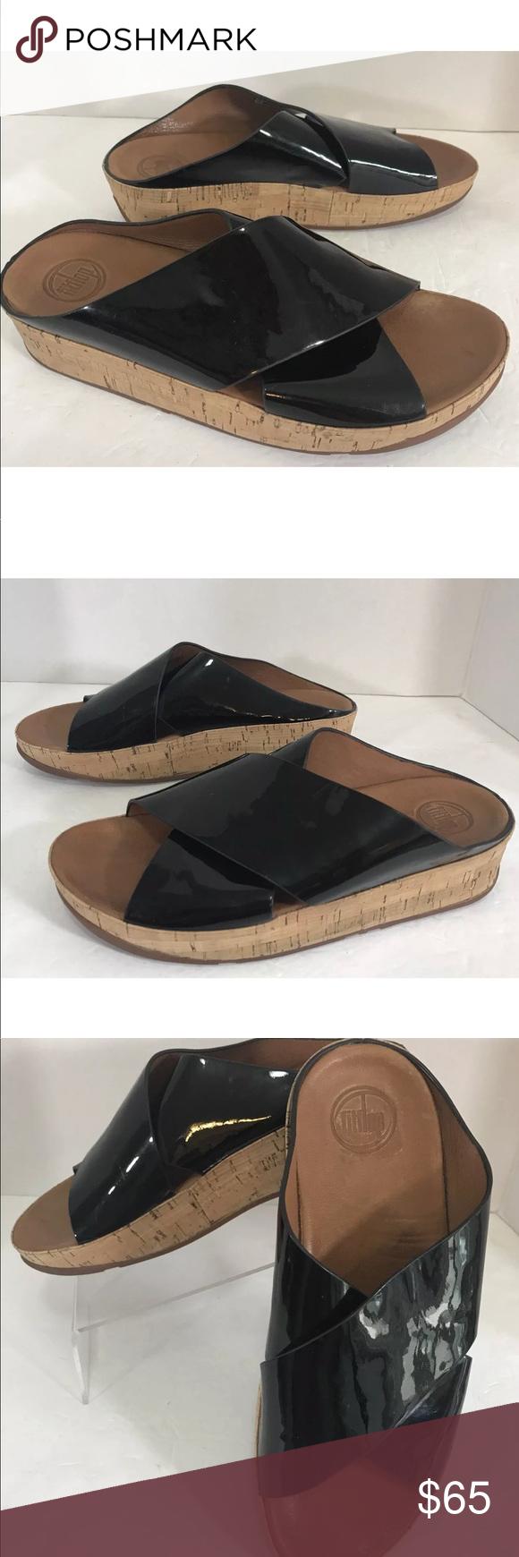 9014e8aeb FitFlop KYS Black Patent Crisscross Sandals Sz 9 FITFLOP CROSSOVER SLIDES  SHOES
