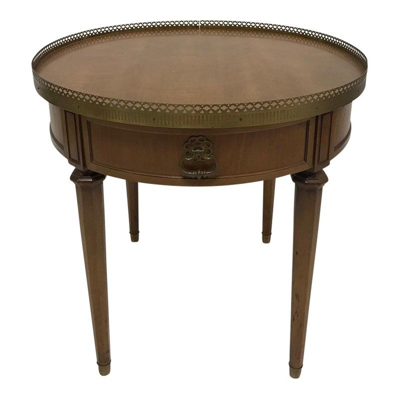 1970s French Empire Henredon Brass Edged Round Wood Side Table Round Wood Side Table Side Table Wood Side Table