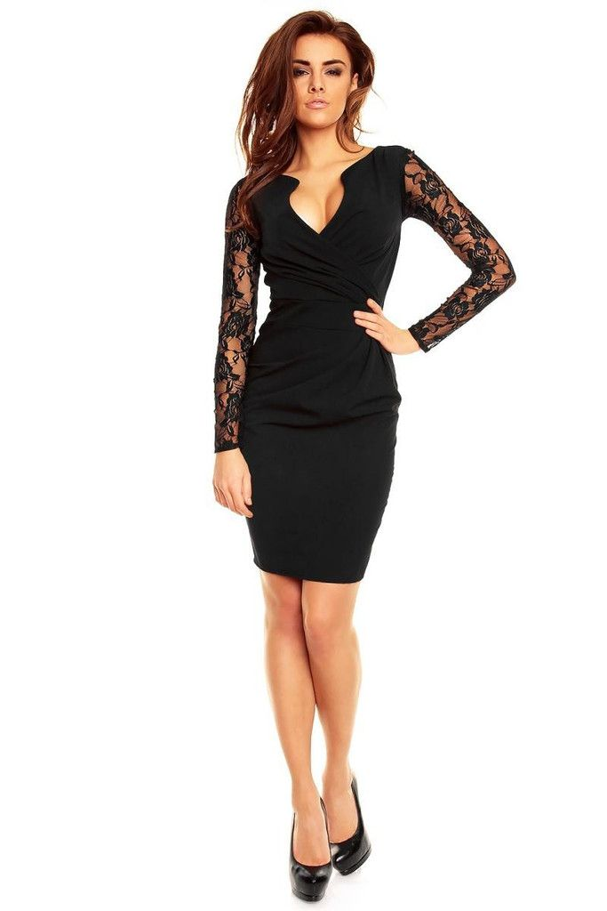 a90bb32cf3d8 Wrap Around Self Belted Sheath Black Laced Dress | Fashion | Lace ...