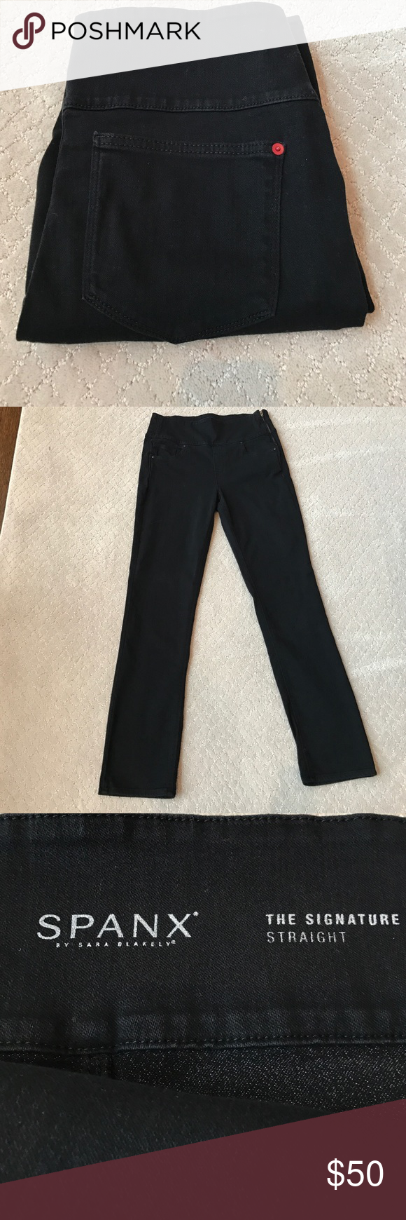 "Spanx Denim Spanx ""The Signature Straight"" jeans with wide waist band. Side zip waist. Black. Size 31. Fabric content: 93% cotton, 6% polyester, 1% Lycra. Rough measurements: 31.5"" inseam, 11.75"" rise. Excellent condition. Worn once or twice - the high rise just didn't work for me. SPANX Jeans"