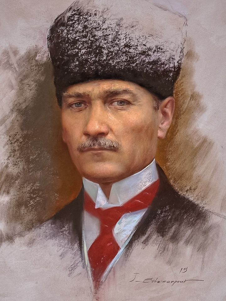 Mustafa Kemal Ataturk Ressam Javad Soleimanpour Resim Sanat Yagliboya Sanat