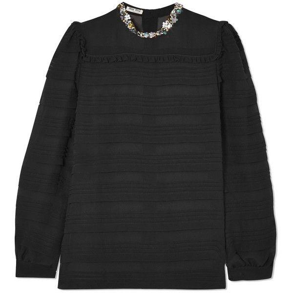 Embellished Pintucked Silk-chiffon Blouse - Black Miu Miu Clearance Huge Surprise 78dK9Ypm