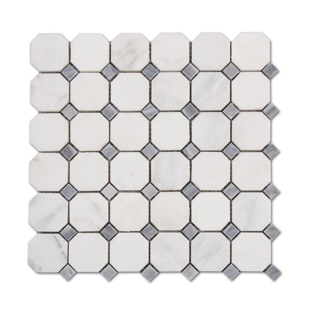 Venato carrara white octagon grey dot marble mosaic tile carrara venato carrara white octagon grey dot marble mosaic tile dailygadgetfo Images