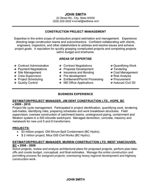 Sample Resumes for Project Managers or Construction Project Manager