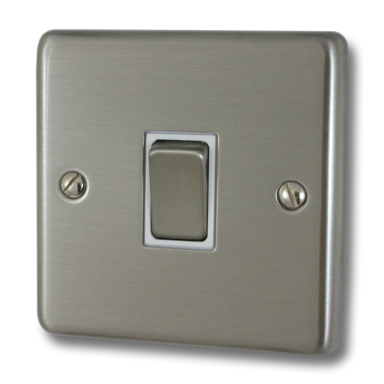 Contour Brushed Steel Light Switch (1 Gang/White Insert/Satin Chrome ... for Wall Switches And Sockets  555kxo