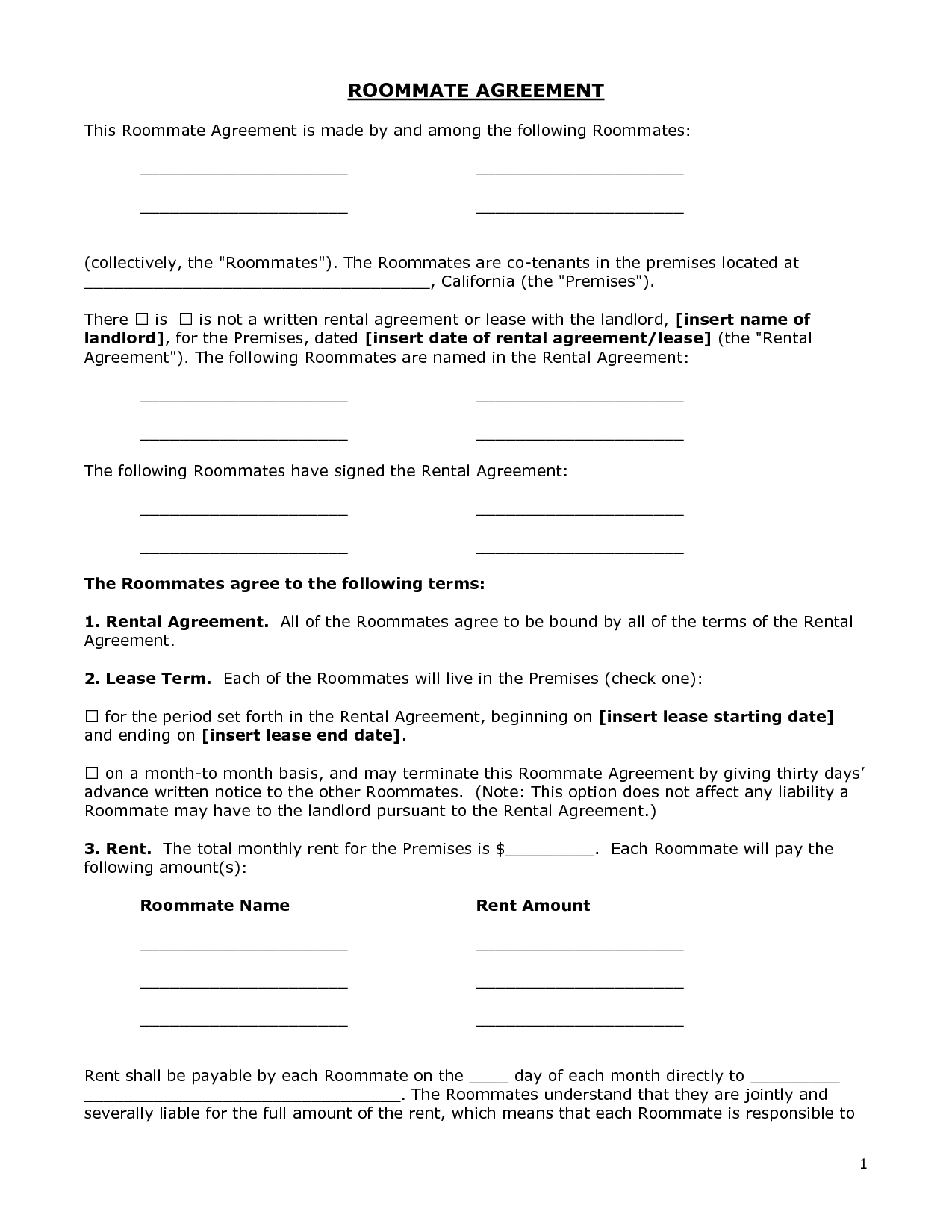 Renters agreement form doc by bgf31721 roommate for Roommate agreement template free