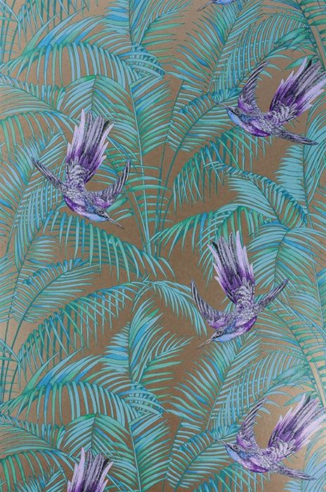 Tapet 13681: Sunbird Metallic Bronze/<br>Purple/Turquoise från Matthew Williamson - Tapetorama
