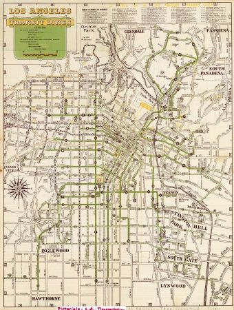 California Subway Map.Map Of Los Angeles Transit Lines 1947 Black Dahlia Ballet Local
