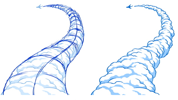 thinking 3 dimensionally when designing smoke clouds cartoon