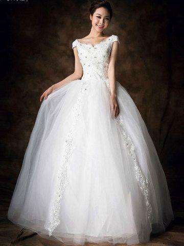 Solid Crochet Hollow Back Wedding Bubble Dress