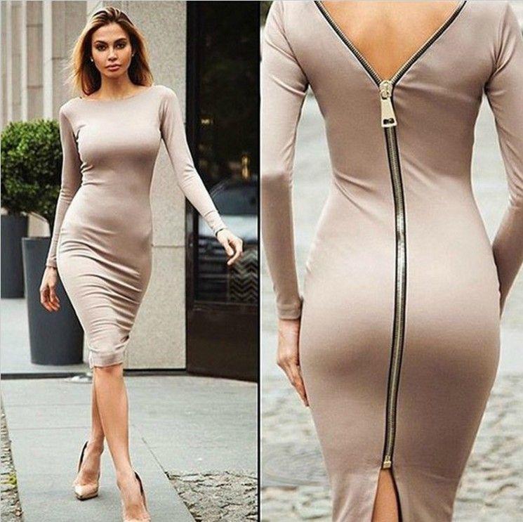 Sexy Zip Back Long Sleeve Dress  854d19d8e6f3