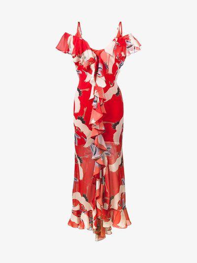 De La Vali Jolene Bird Printed Slip Gown with Ruffles