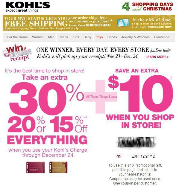 Kohls 30 Off Coupons In Store Kohls Coupons 2016 Free
