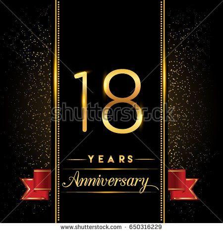 Eighteen Years Anniversary Celebration Logotype 18th Anniversary Logo With Confetti Golden Col Work Anniversary Cards Work Anniversary Anniversary Celebration
