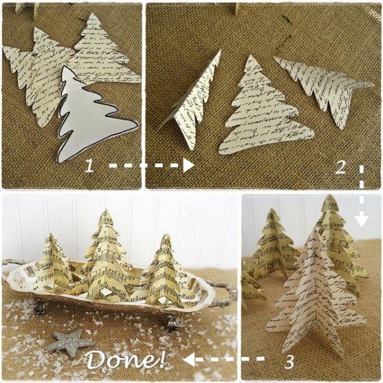 Photo of Last Minute Christmas…Easy Vintage Paper Trees