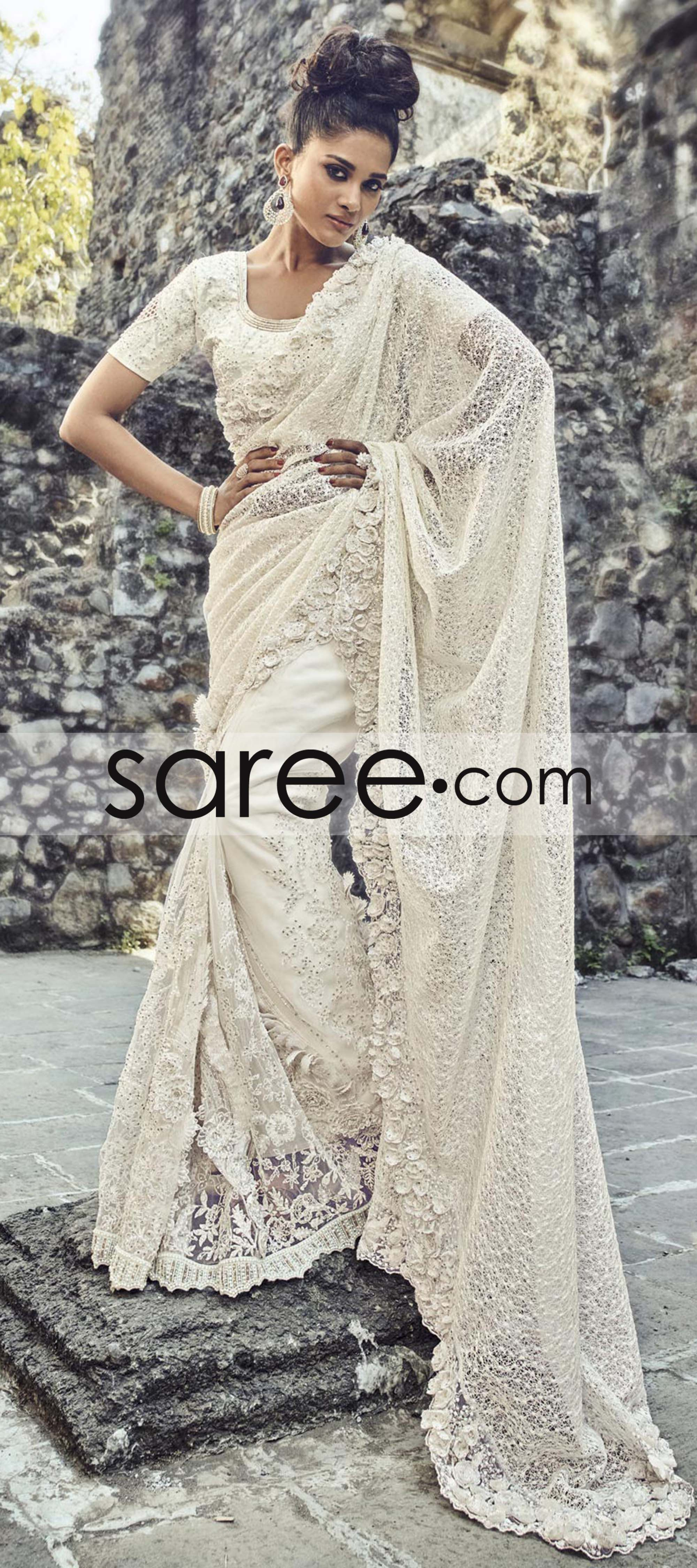 55bd16ec3d Off White Net Saree With Pearl Work Lace