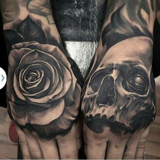 02f07e274daf4 black and grey rose and skull tattoo | Tattoos | Hand tattoos ...