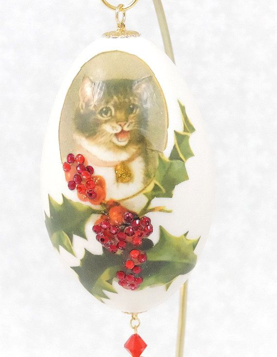 Grey Cat Christmas Tree Ornament Grey Cat Decorated Christmas Egg - decorative christmas trees
