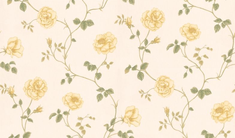 Rosalie (DAPGRO102) - Sanderson Wallpapers - A soft old-fashioned rambling English rose trail, subtle, gentle and easy to live with.  Available in 4 colourways – shown in pale green and soft butter yellows.