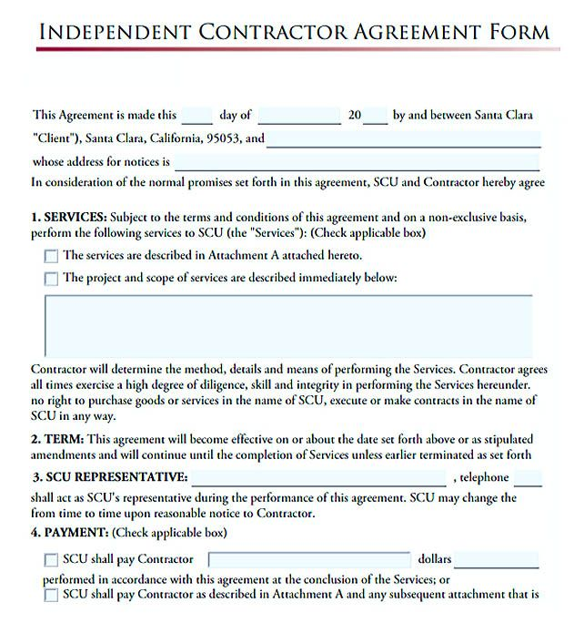 Independent Contractor Agreement Form   Subcontractor Agreement