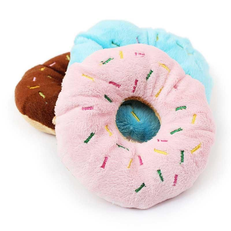 Plush Donut Dog Toy In Frosted Chocolate Baby Pink Blue Color