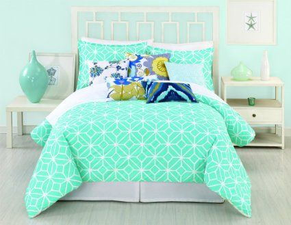 Trina Turk 3 Piece Trellis Comforter Set Queen Turquoise