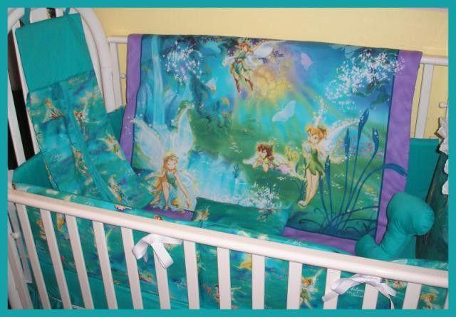 Tinkerbell Fairy And Friends Aqua Fabric Crib Bedding