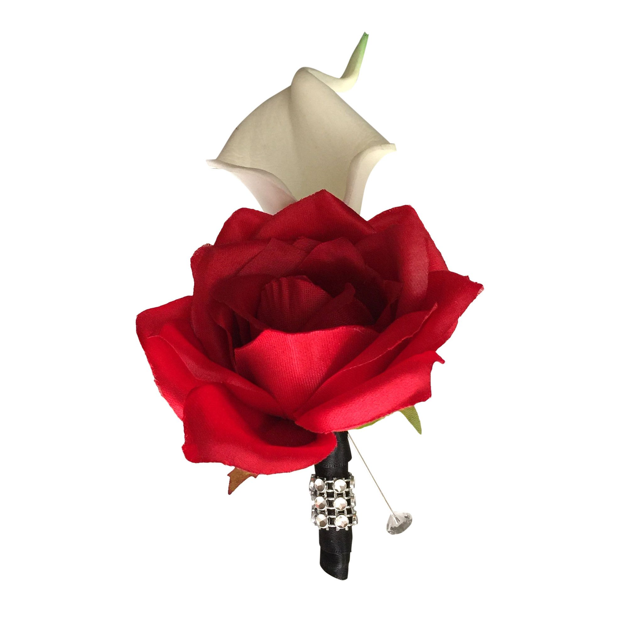 Calla Lily Boutonniere Real Touch Calla Lily With Red Rose Silk