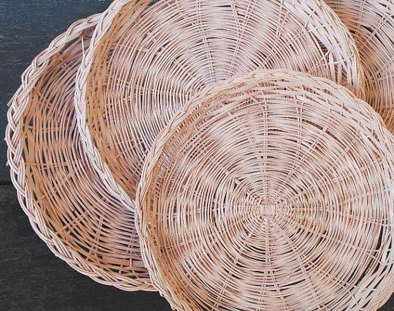 Vintage Wicker Paper Plate Holders Pale Pink Set of Four & Bread plates | Wedding Inspiration | Pinterest | Plate holder ...