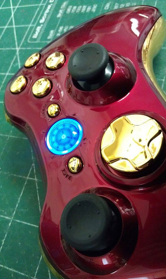 iron man custom xbox 360 guide button or choose your own via etsy rh pinterest com Xbox 360 System Settings Xbox 360 Controller Shells