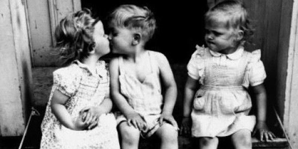 Boy and Girl Kissing - Jealous Little Girl - Black and White Classic ---- Best funny, pictures, humor, jokes, memes, hilarious, quotes