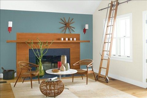 Look at the paint color combination I created with Benjamin Moore. Via @benjamin_moore. Wall: Aegean Teal 2136-40; Side Wall: Wind's Breath OC-24; Trim: Wedding Veil 2125-70; Ceiling: Wedding Veil 2125-70.
