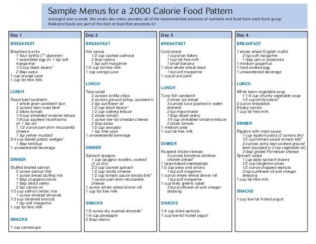 Sample Menu For 2000 Calorie Diet Plan | 2000 Calories Meal Plan