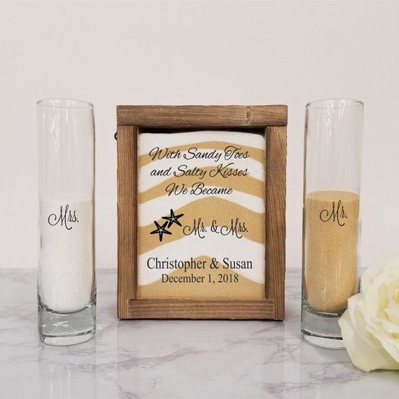 Beach Wedding Candle Ceremony: Beach Wedding Decor, Unity Sand Ceremony Set Shadow Box