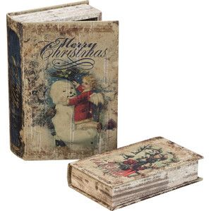 2 Piece Snowman Book Box Set Christmas Decorations Christmas Holidays Holiday Accents