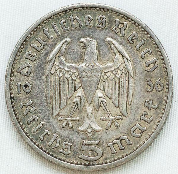 Numismatica Alemanha 1935a 5 Mark Moeda De Prata So Com