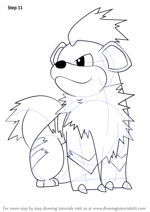 How To Draw Growlithe From Pokemon Drawingtutorials101