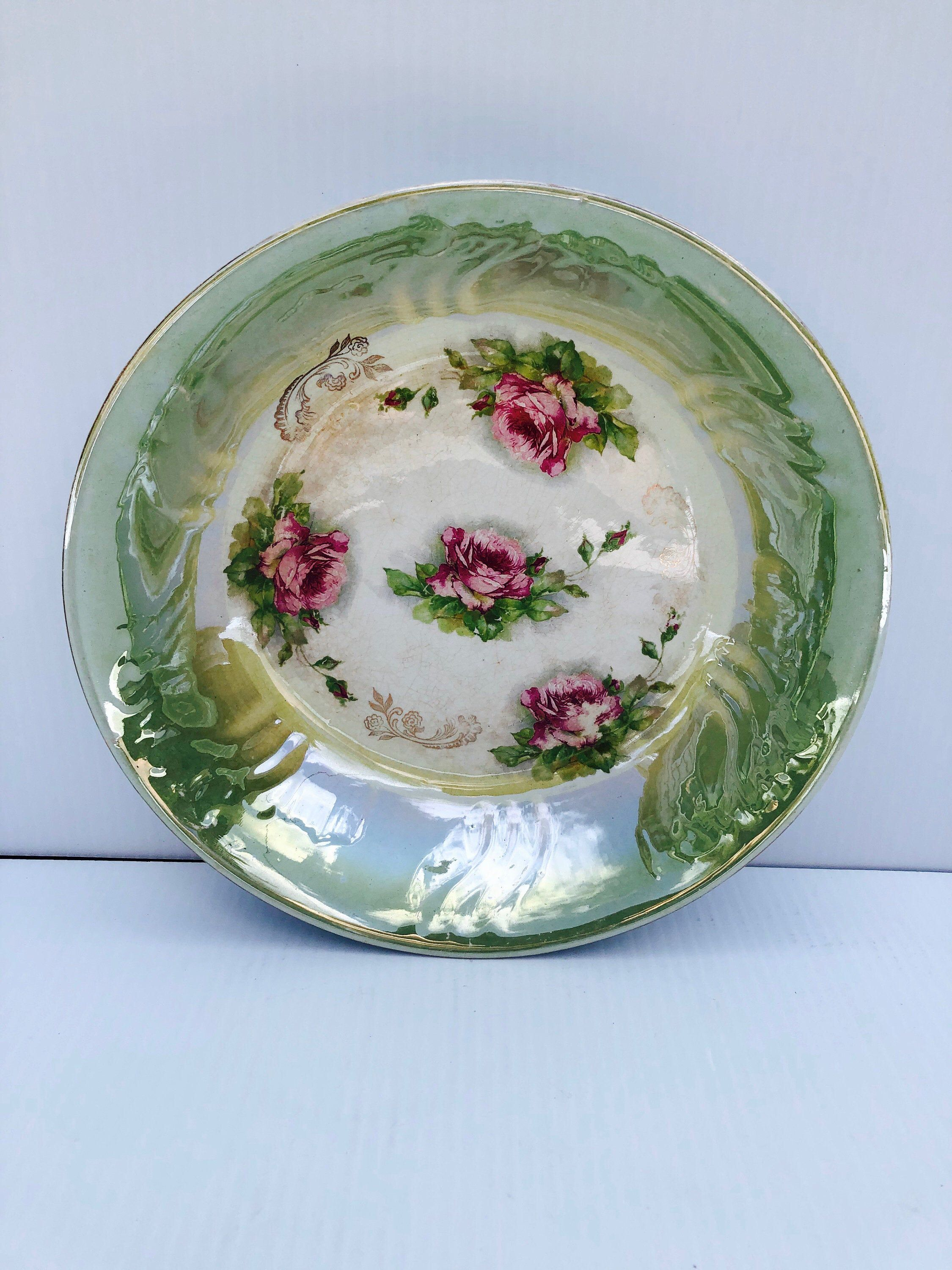 Antique Floral Bowl American China Company Shiny Green Decorative Bowl With Pink Roses In 2020 Floral Bowls Decorative Bowls Pink Roses