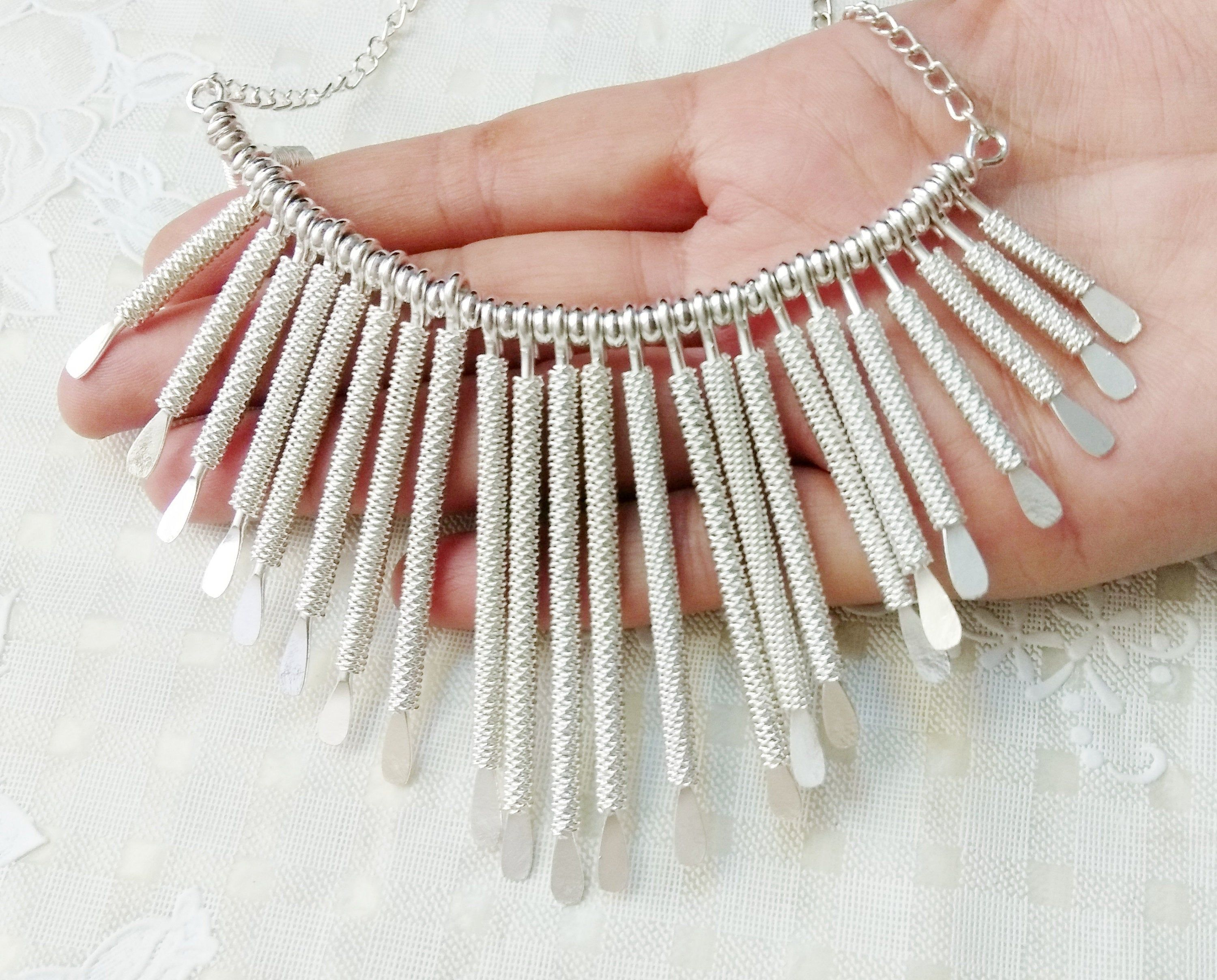 6e6c2443ccfe66 Bib statement necklace for women, Large silver chunky choker, Long spike  choker necklace,