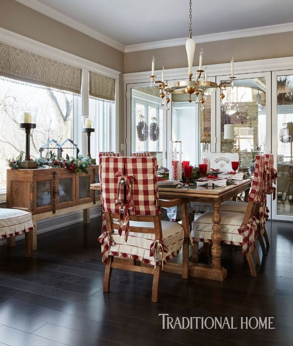 Room Cheerful Red Plaid On Dining Chair Covers Brings The Holidays