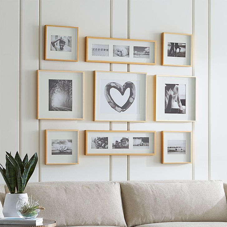 Brushed Brass Picture Frame Gallery, Set of 9 + Reviews | Crate and Barrel