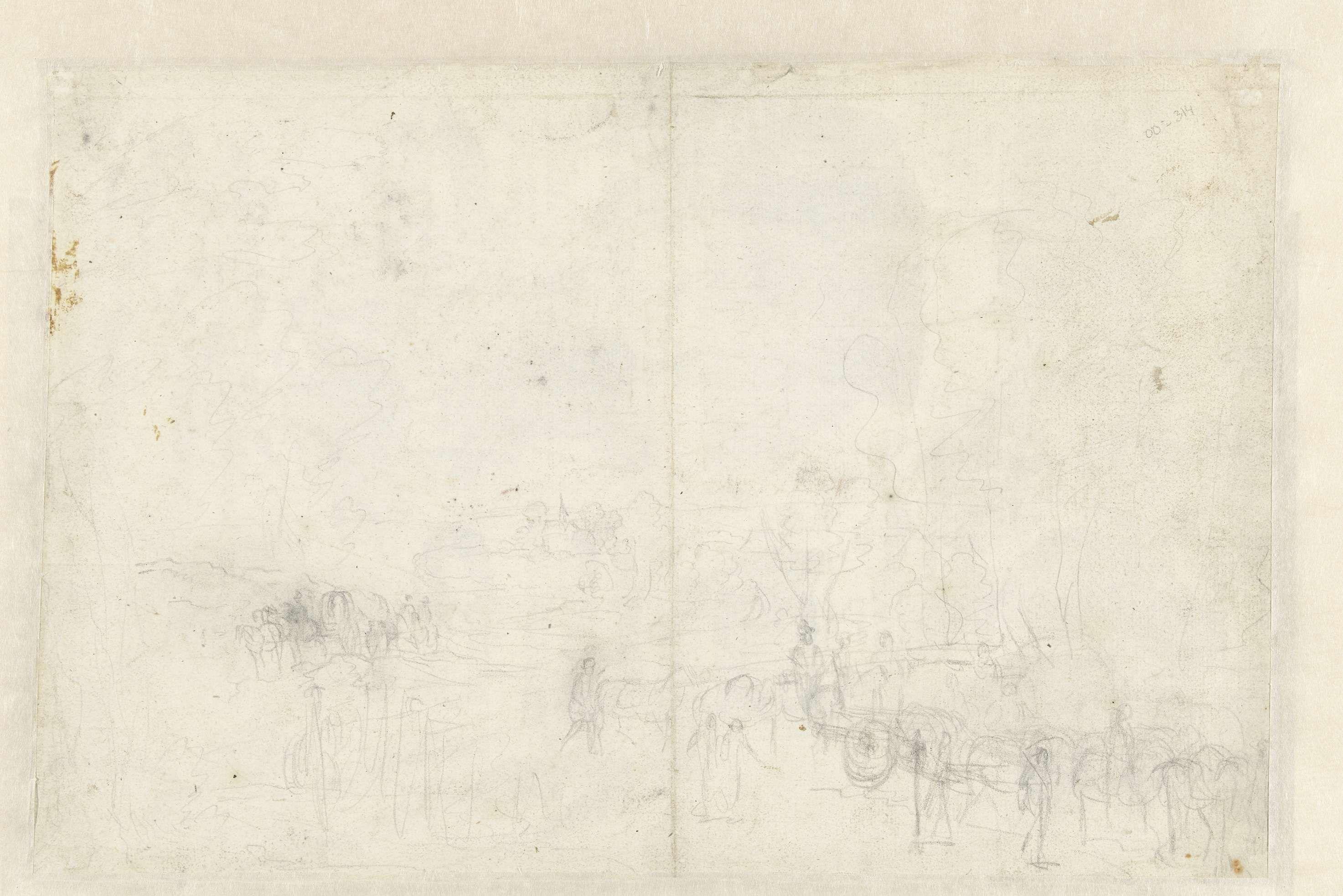 Anonymous | Schets van een landschap met een rijtuig en een huifkar, Anonymous, 1600 - 1699 |