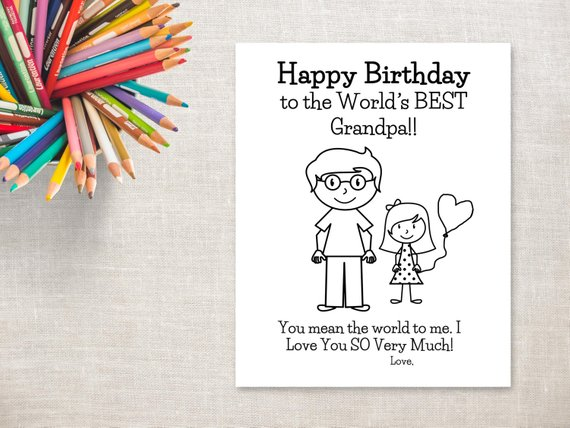 image about Grandpa Birthday Card Printable titled Birthday Coloring Printable- Woman Grandpa- Birthday Card