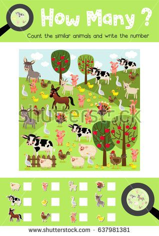 Counting game of farm animals for preschool kids activity worksheet