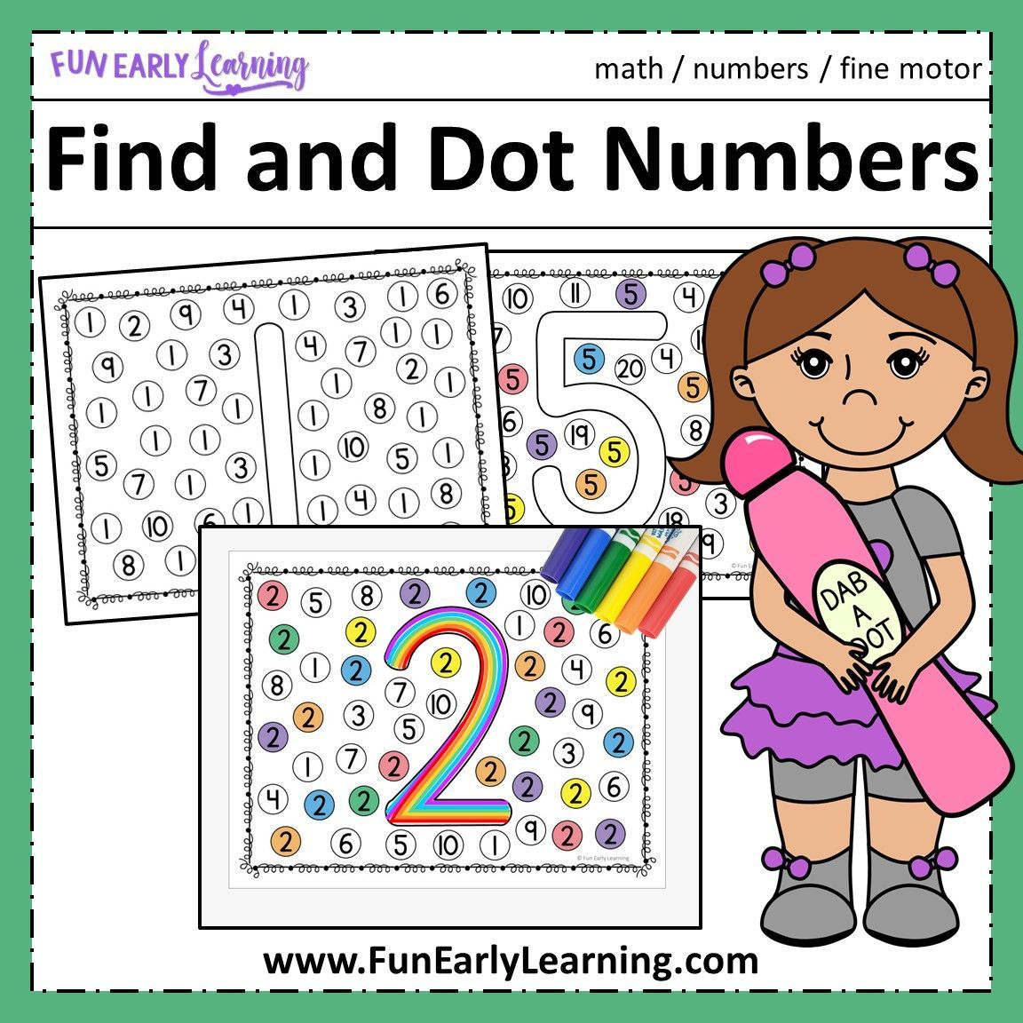 Find And Dot Matching Numbers Free Printable For Preschool