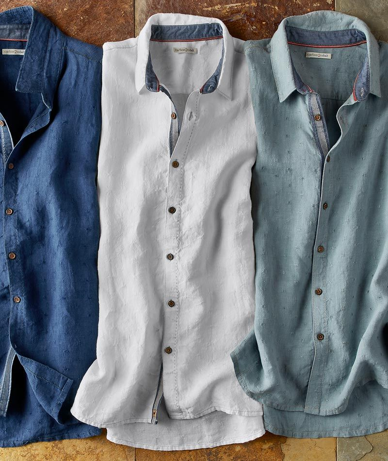 Men S Tradewinds Linen Shirt Looking To Put A Spin On The Classic Linen Shirt We Found This Soft Draping Fabric Mens Designer Shirts Mens Shirts Linen Shirt