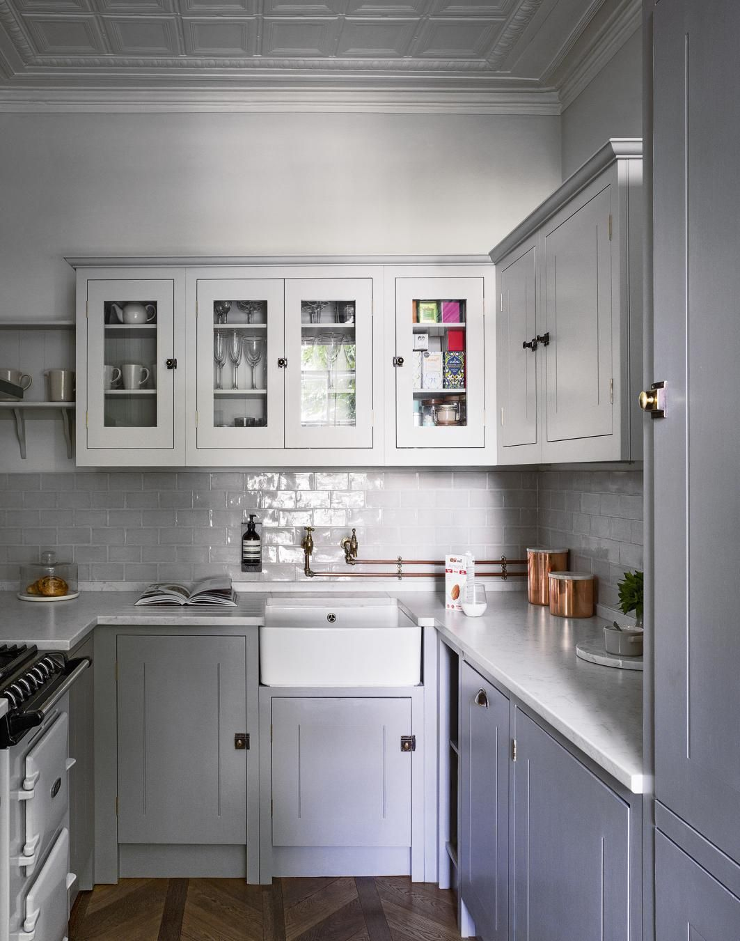 Grey Classic Kitchen with Parquet Floor and